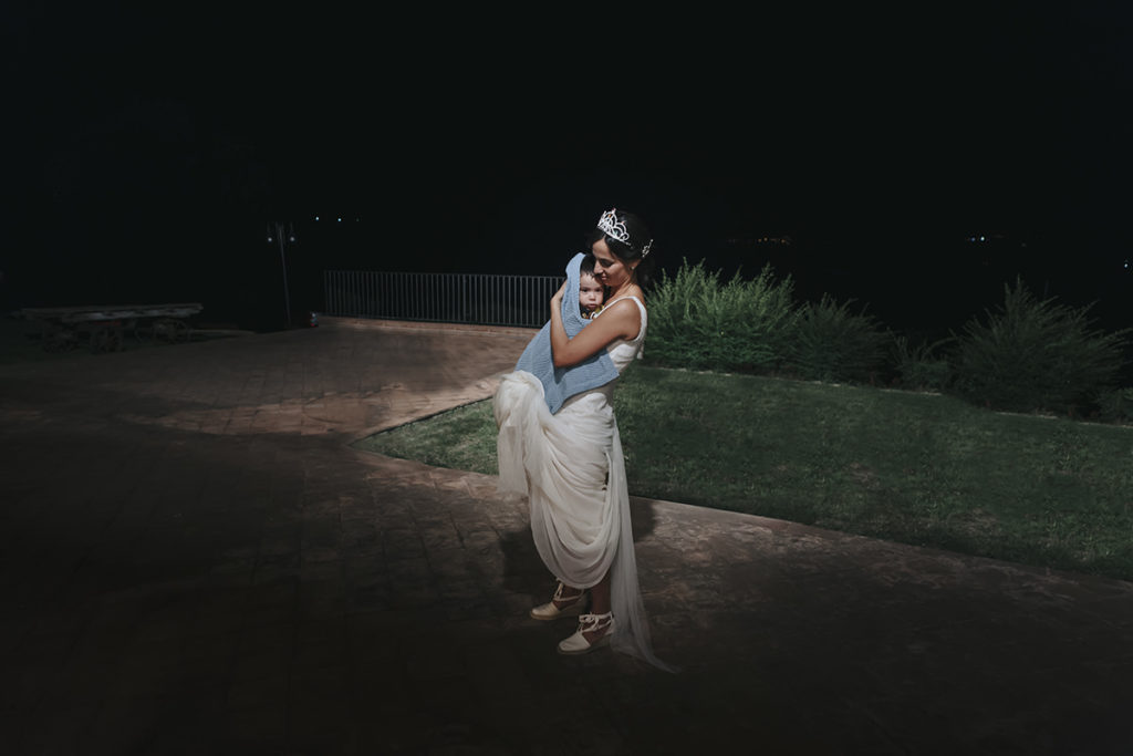 bride and his baby